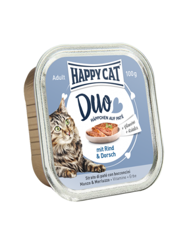 Happy Cat Pâtée Duo Boeuf & Morue 100g